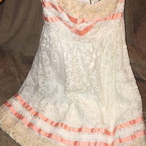 Strapless lace mini dress